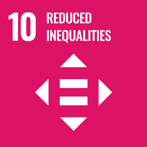 UN Goal 10 icon: the words reduced inequalities on a pink background