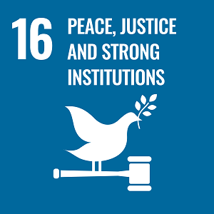 UN Goal 16 icon: the words peace, justice and strong institutions on a navy blue background