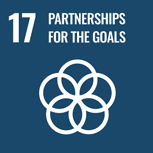 UN Goal 17 icon: the words partnerships for the goals on a navy blue background