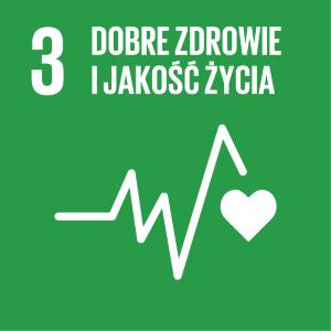 Ikona celu 3 ONZ: napis dobre zdrowie i jakość życia na zielonym tle