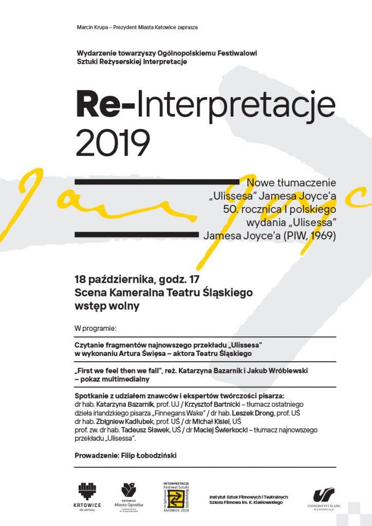 Plakat promujący wydarzenie: Re-Interpretacje 2019