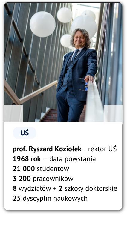 Karta ze zdjęciem rektora UŚ prof. Ryszarda Koziołka oraz liczbami: 1968 – rok powstania, 21 000 studentów, 3200 pracowników 8 wydziałów + 2 szkoły doktorskie, 25 dyscyplin naukowych