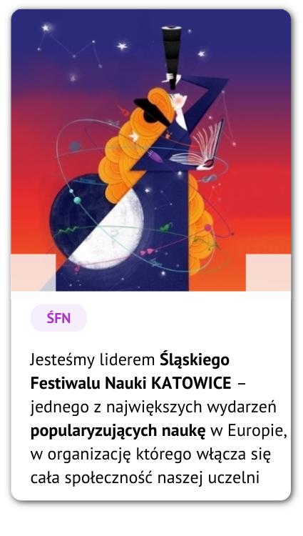 Grafika przedstawiająca rudowłosą kobietę spoglądającą w gwiazdy. Podpis: Jesteśmy liderem Śląskiego Festiwalu Nauki Katowice – jednego z największych wydarzeń popularyzujących naukę w Europie, w organizację którego włącza się cała społeczność naszej uczelni