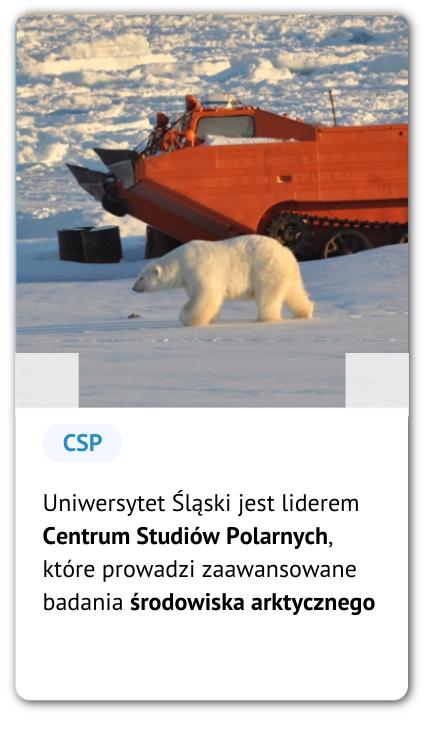Niedźwiedź polarny i opis: Uniwersytet Śląski jest liderem Centrum Studiów Polarnych, które prowadzi zaawansowane badania środowiska arktycznego