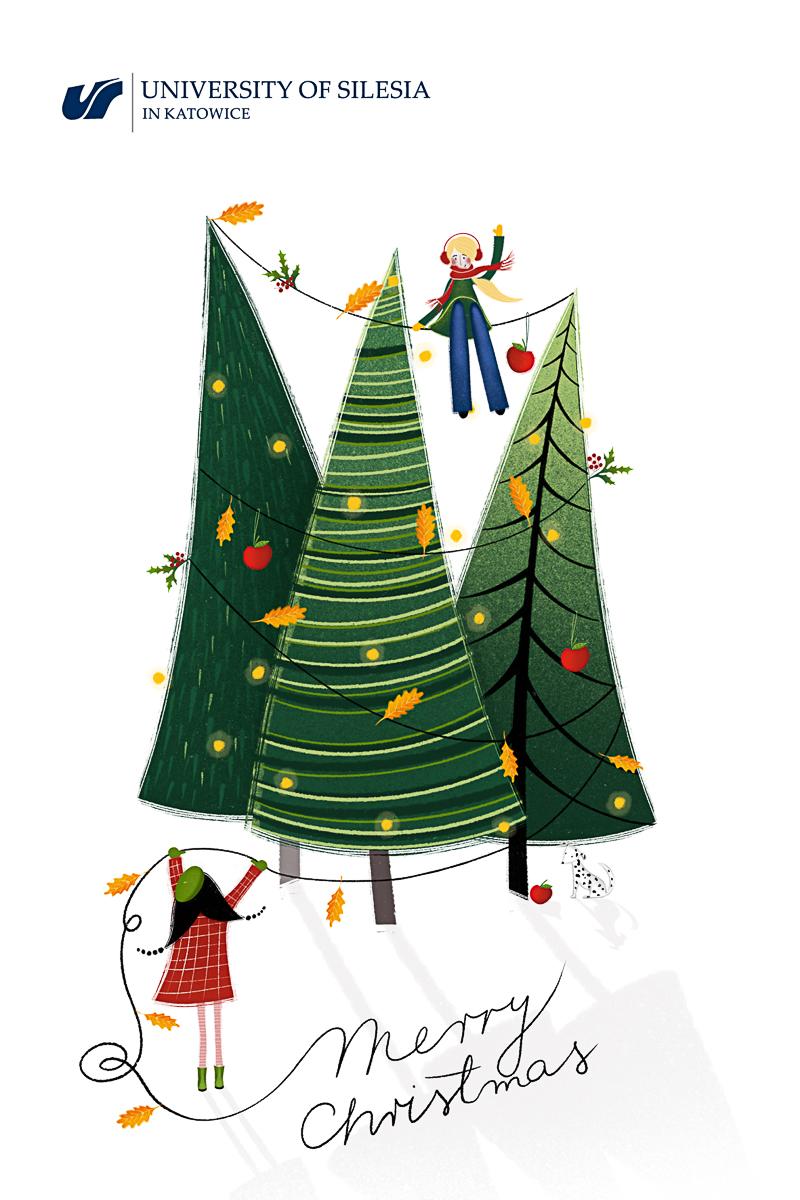 GGrafika: choinki ubrane świątecznie, dwójka dzieci, jedno siedzi na linie rozpiętej pomiędzy choinkami, drugie dziecko podaje mu sznur z ozdobami świątecznymi. Napis: UŚ świątecznie, podziel się z innymi