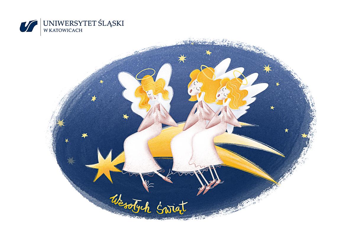 Grafika: trzy anioły siedzące na spadającej z nieba gwiazdce. Napis: Wesołych świąt