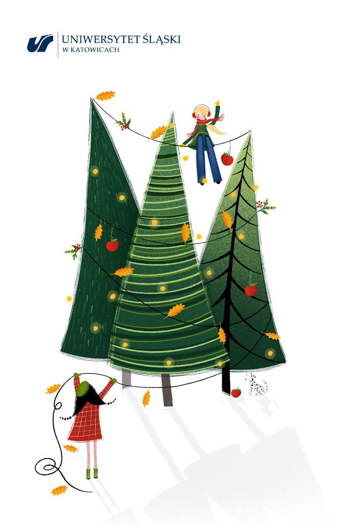 Grafika: choinki ubrane świątecznie, dwójka dzieci, jedno siedzi na linie rozpiętej pomiędzy choinkami, drugie dziecko podaje mu sznur z ozdobami świątecznymi