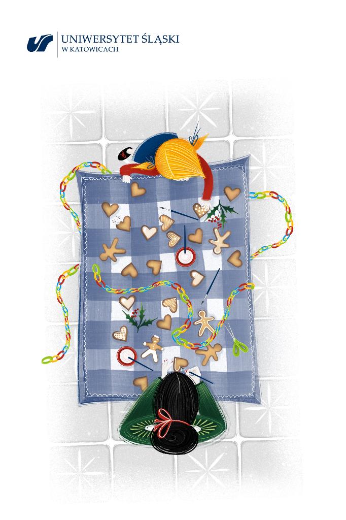 Grafika: matka i córka dekorują pierniczki rozłożone na stole (widok z góry)