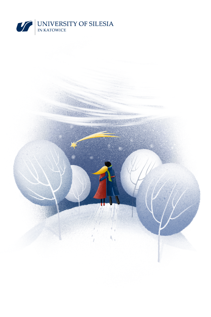 Grafika: Białe drzewa, wśród nich dwójka obejmujących się ludzi patrzy na spadającą gwiazdkę z nieba