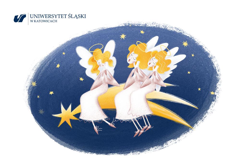 Grafika: trzy anioły siedzące na spadającej z nieba gwiazdce