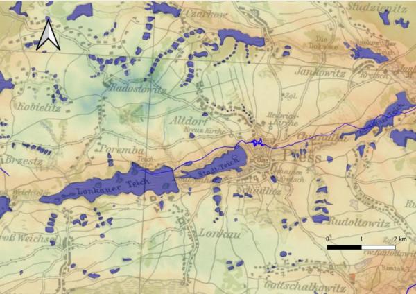 Mapa przedstawiająca historyczne rejony Pszczyny