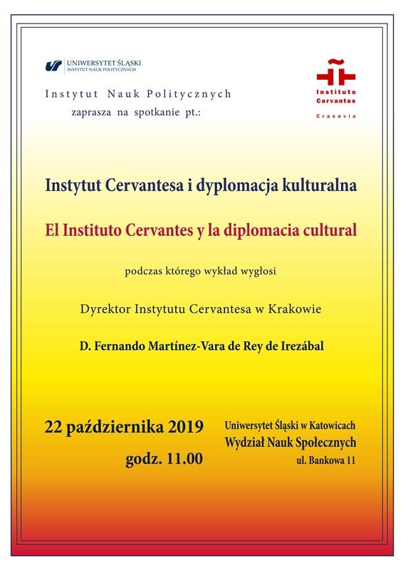 Plakat informujący o wykładzie D. Fernando Martínez-Vara de Rey de Irezábala na Uniwersytecie Śląskim