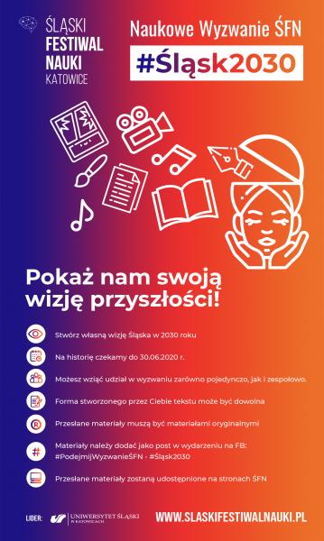 Plakat promujący #NaukoweWyzwanieŚFN