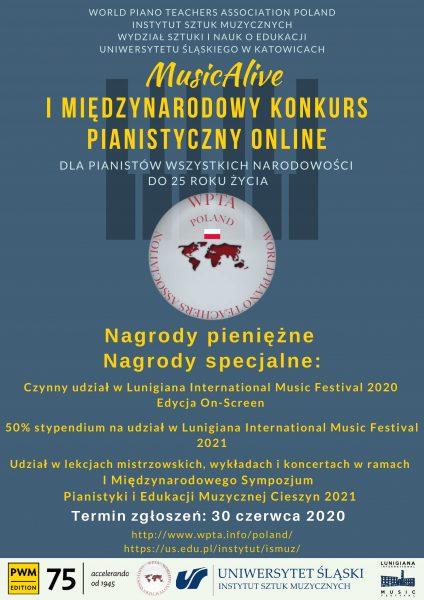 plakat: I Międzynarodowy Konkurs Pianistyczny MusicAlive Online