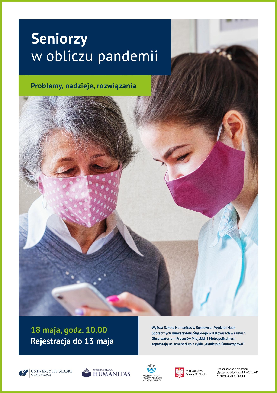 """plakat: seminarium """"Seniorzy dostępny w obliczu pandemii"""", zdjęcie starszej i młodszej kobiety w maseczkach"""