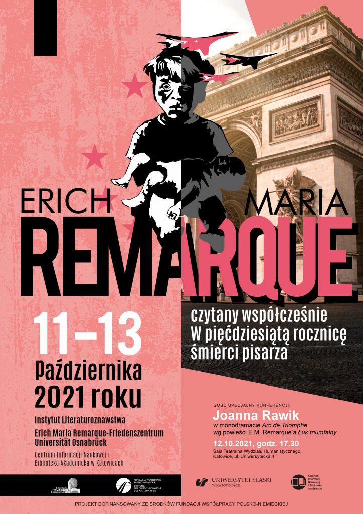 plakat promujący konferencję naukową w 50. rocznicę śmierci Ericha Marii Remarque'a
