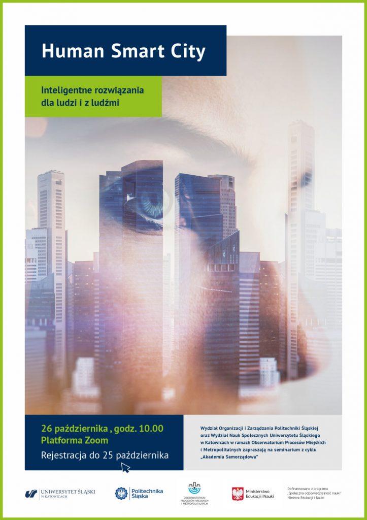 """plakat promujący seminarium pn. """"Human Smart City - inteligentne rozwiązania dla ludzi i z ludźmi"""""""