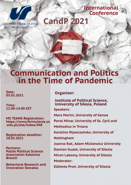 "plakat promujący konferencję ""Communication And Politics In The Time Of Pandemic"""