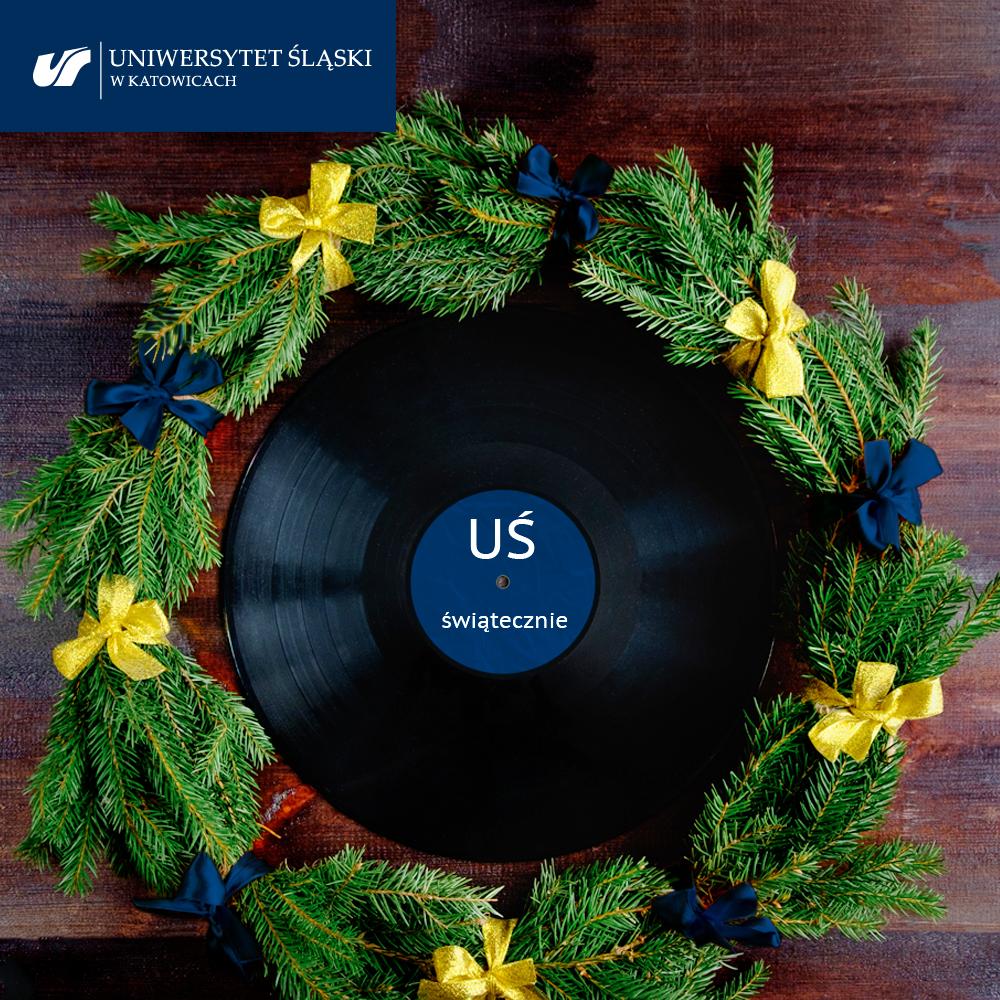 Wieniec świąteczny, w środku płyta gramofonowa z napisem: UŚ świątecznie