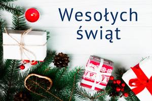 """Kartka świąteczna z napisem """"Wesołych świąt"""""""