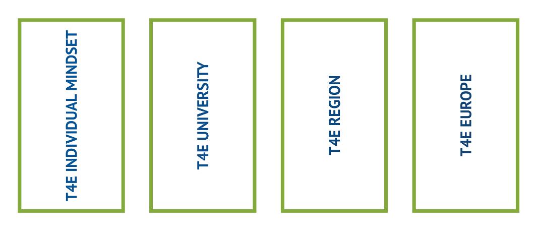 Table with four terms: T4E individual mindset, T4E University, T4E Region, T4E Europe
