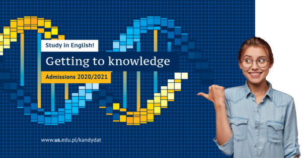 "Graphic advertising admissions with slogan ""Getting to knowledge"""
