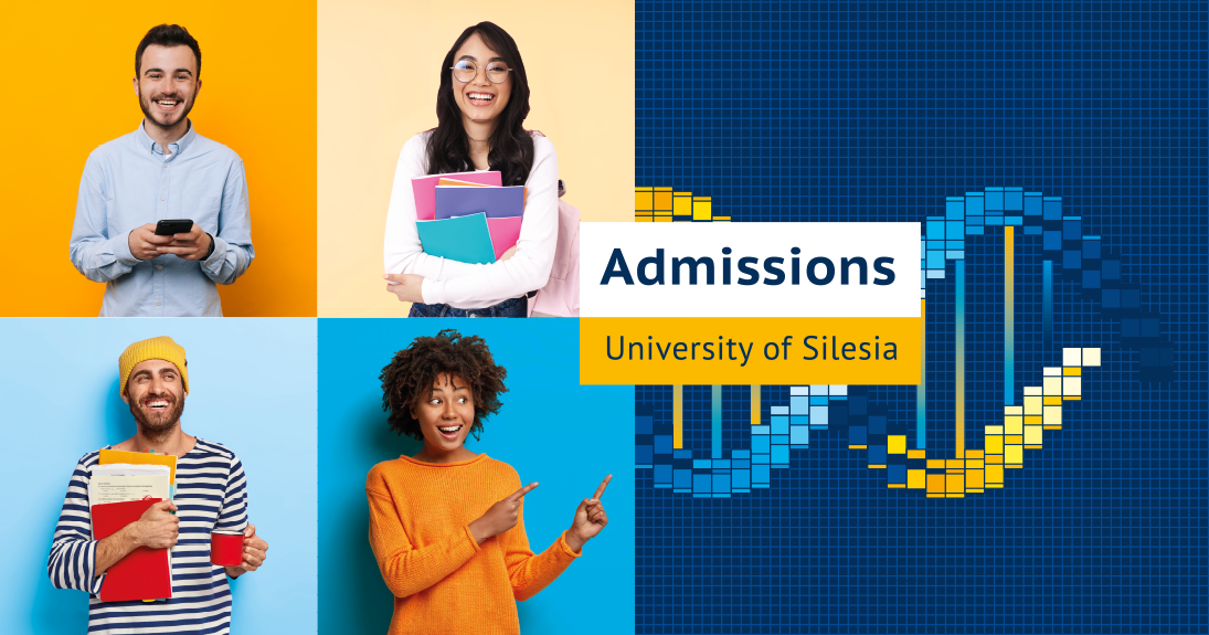 A photo with four smiling young people and a phrase: Admissions