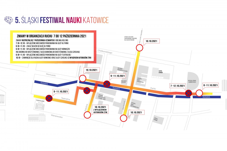 grafika w formie mapy przedstawiająca zamknięte ulice oraz opisująca w jakich dniach obowiązują zakazy wjazdu i parkowania