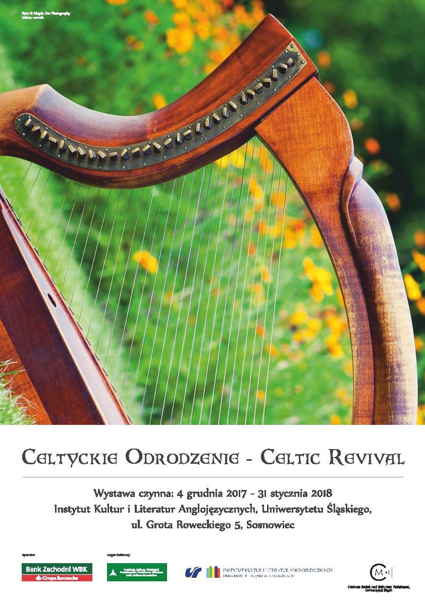harfa na zielonym tle, tytuł, data i miejsce wystawy