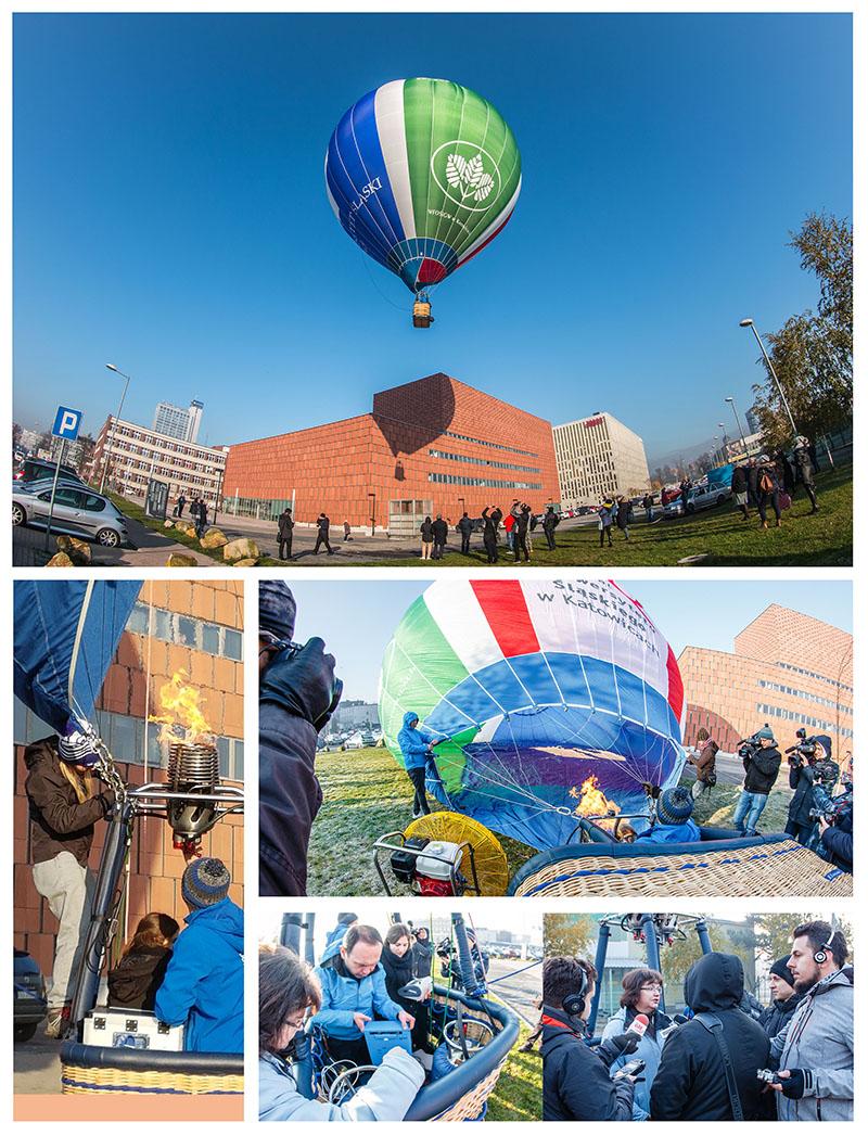 Kolaż zdjęć: przygotowanie balonu badawczego i lot