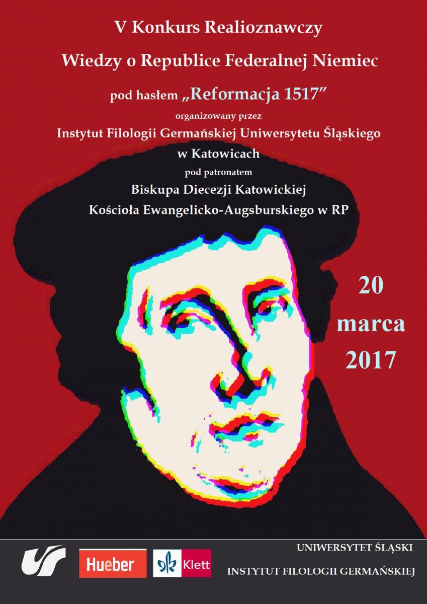 Plakat z podobizna Marcina Lutra promujący V Konkurs Realioznawczy Wiedzy o Republice Federalnej