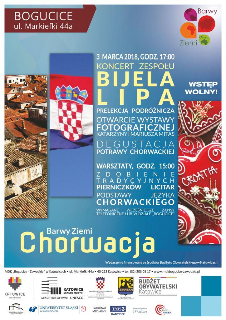 """Plakat promujący wydarzenie """"Barwy Ziemi - Chorwacja"""" z flagą państwa, logo organizatorów i napisem: koncert zespołu Bileja Lipa, wstęp wolny, punktami składającymi się na program oraz numerem telefonu, pod którym należy zgłaszać udział"""