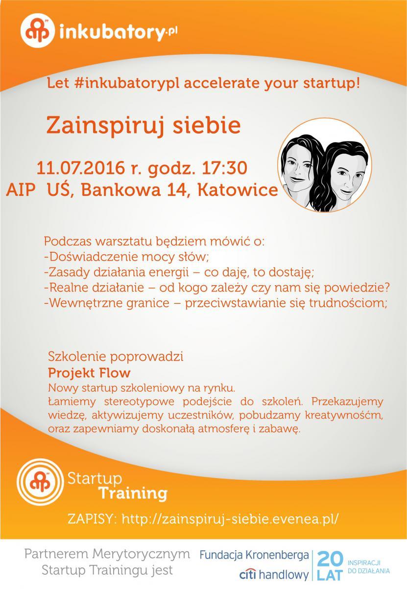 """Plakat promujący warsztaty pt. """"Zainspiruj siebie"""""""