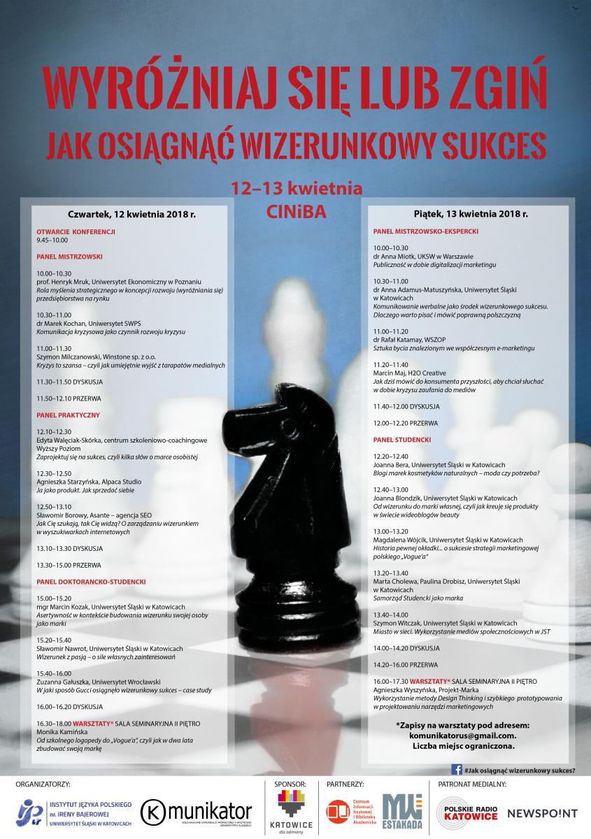 program konferencji w ciemnoniebieskich barwach, z czerwonym tytułem wydarzenia i szczegółowym programem. Na grafice czarny konik szachowy