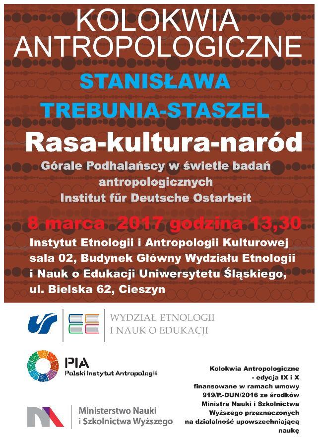 Plakat wykładu z tytułem oraz imieniem i nazwiskiem autora na brązowym tle