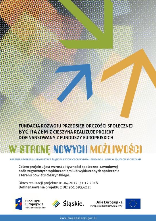 """Plakat projektu """"W stronę nowych możliwości"""", na którym są trzy różnokolorowe strzałki, opis celów projektu oraz termin jego realizacji"""