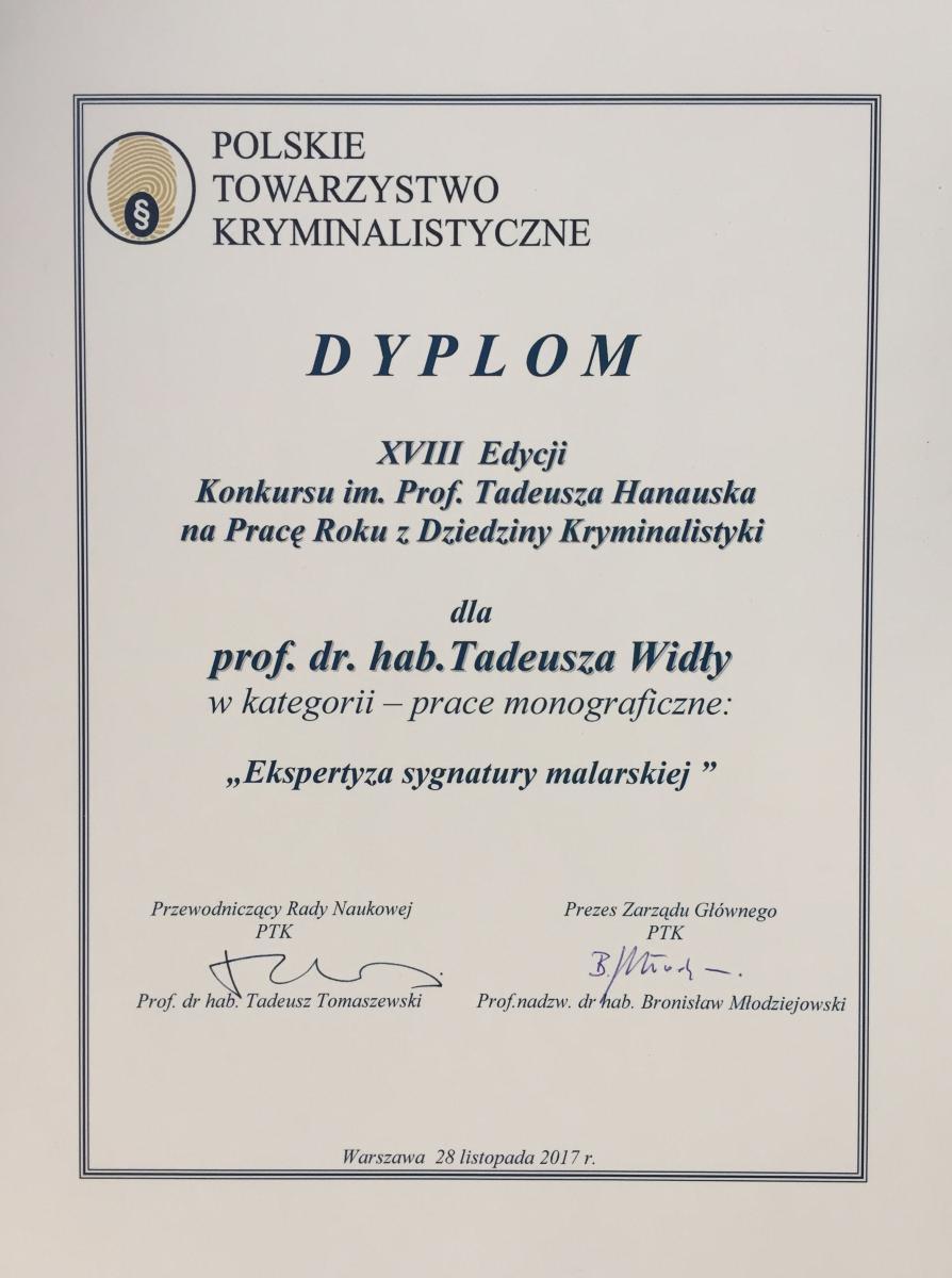 dyplom dla prof. Tadeusza Widły w XVIII edycji Konkursu im. Profesora Tadeusza Hanauska
