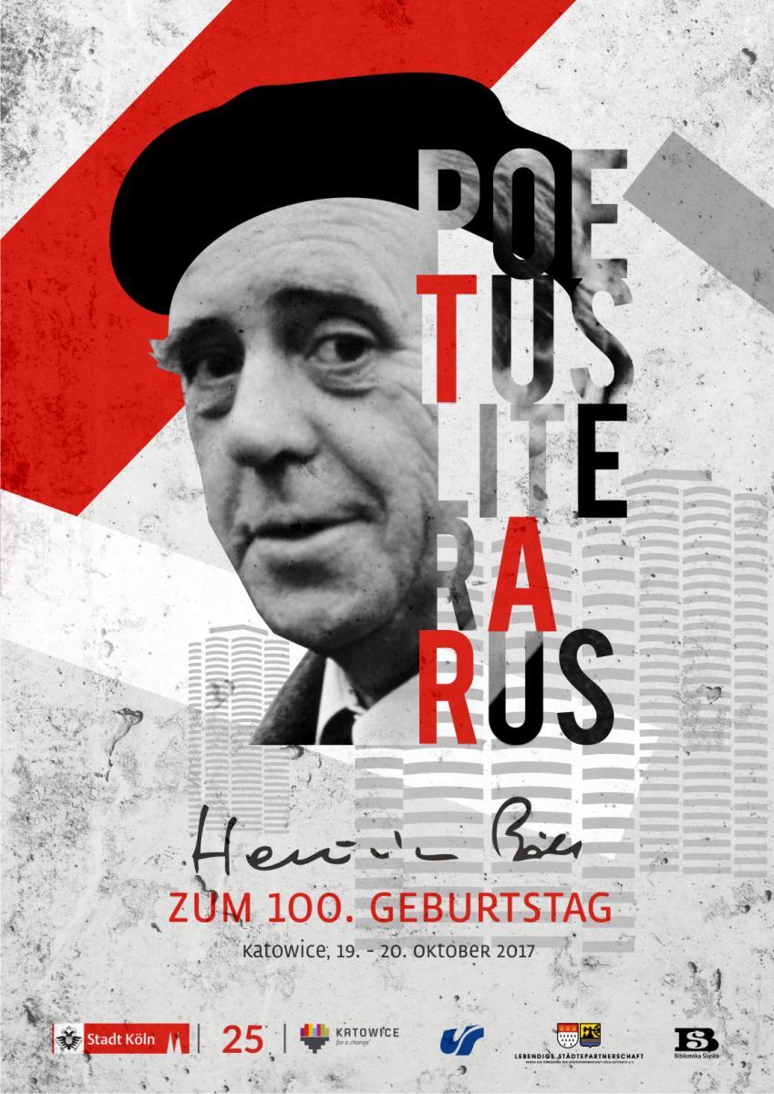 "Plakat promujący konferencję pt. ""Poetus literarus. Heinrich Böll zum 100. Geburtstag"" ze zdjęciem pisarza"