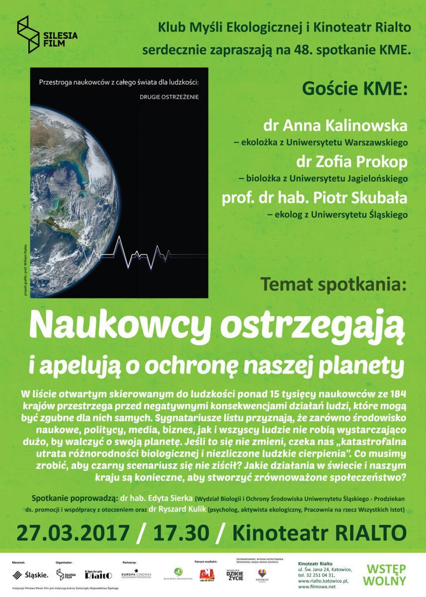 plakat w zielonych barwach ze zdjęciem globu ziemskiego, miejscem i datą spotkania, nazwiskami uczestników i logo organizatorów