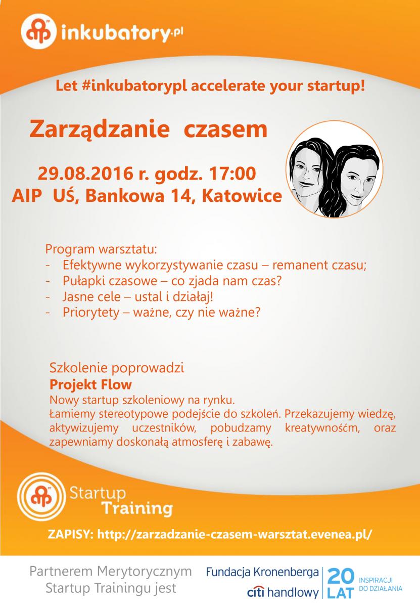 Plakat promujący szkolenie AIP dotyczące zarządzania czasem