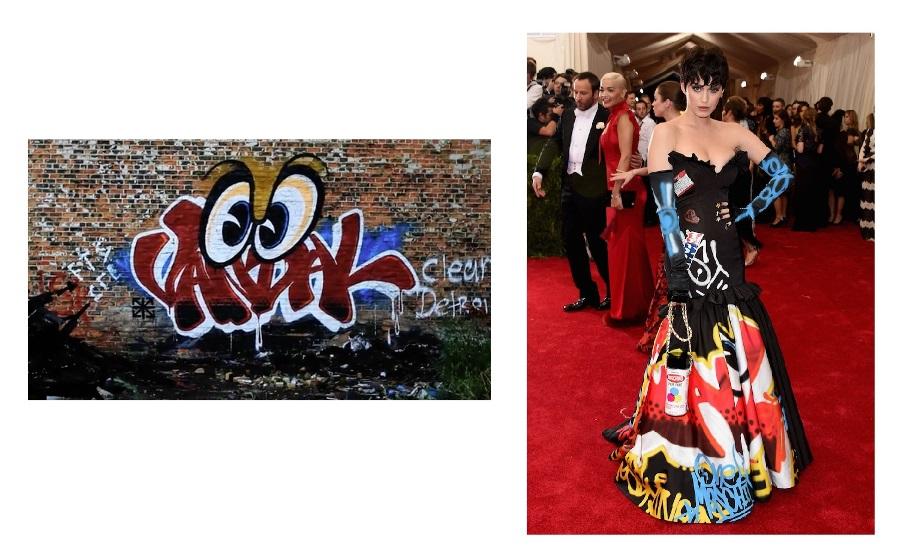 """Dwie grafiki: z lewej strony zdjęcie graffiti pt. """"Vandal eyes"""", po prawej Katy Perry ubrana w suknię projektu Moschino z grafiką """"Vandal eyes"""""""