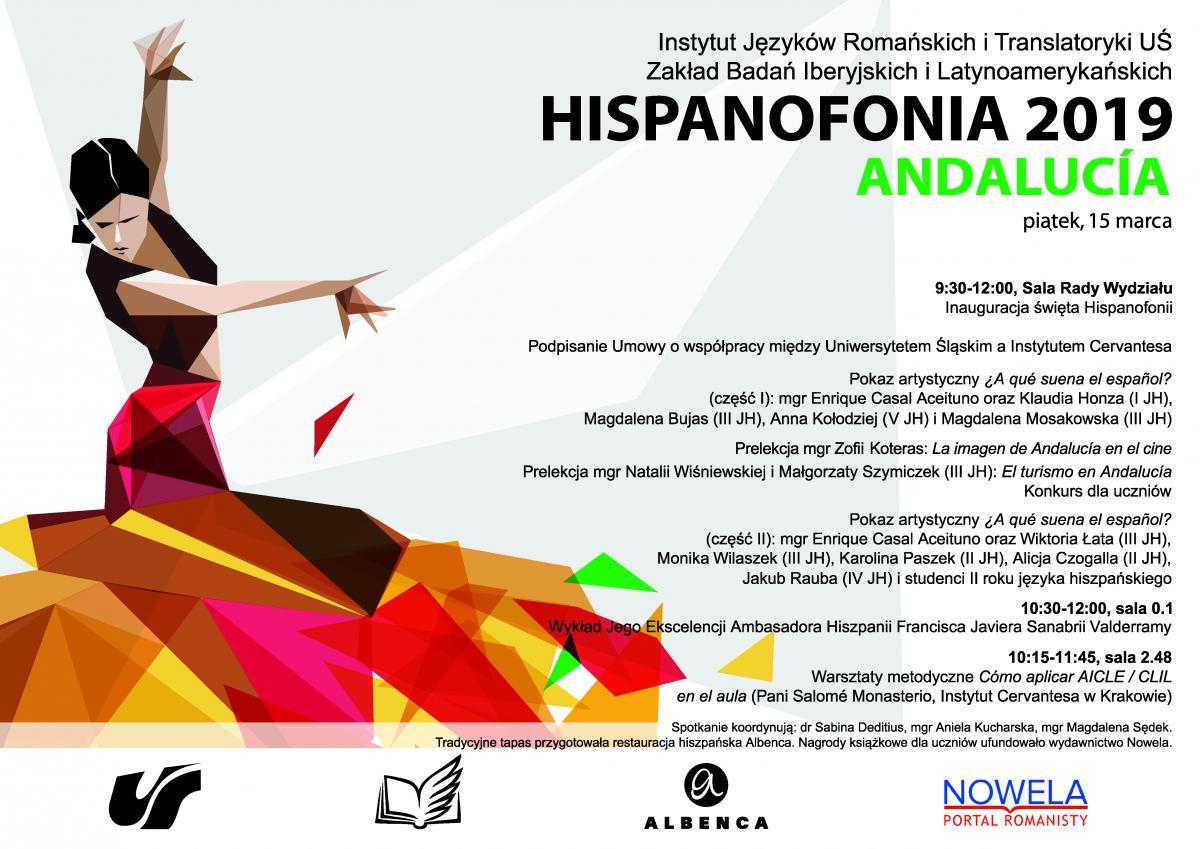 plakat promujący Hispanofonię 2019 ze szczegółowym programem spotkania oraz dziewczyną tanczącą famenco