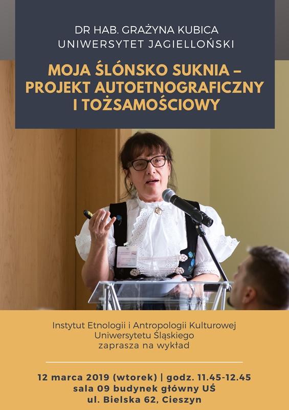 Plalakt promujący wykład gościnny dr hab. Grażyny Kubicy (UJ) na Wydziale Etnologii i Nauk o Edukacji UŚ