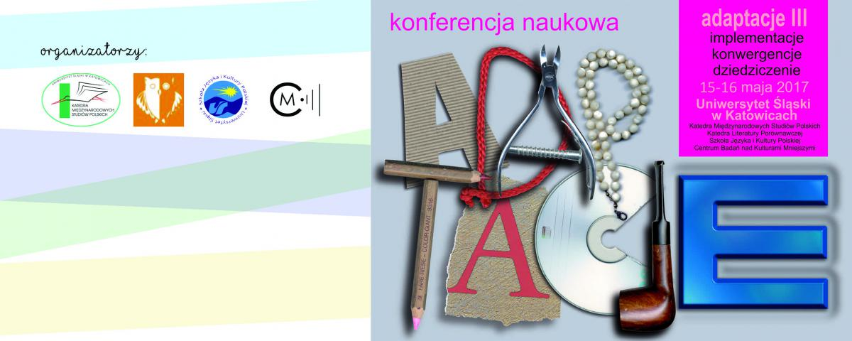 """Plakat promujący 3. edycję konferencji """"Adaptacje..."""" zawierający grafikę, która układa się w napis adaptacje z ozdobnych liter"""