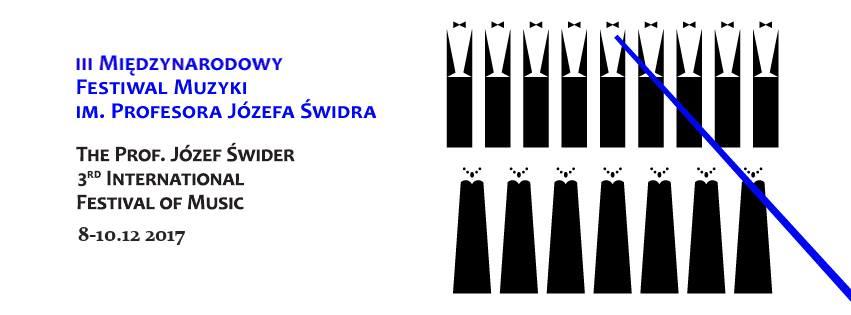 Plakat III Międzynarodowego Festiwalu Muzyki im. prof. Józefa Świdra wraz z datą i grafiką prezentującą zarysy postaci na białym tle