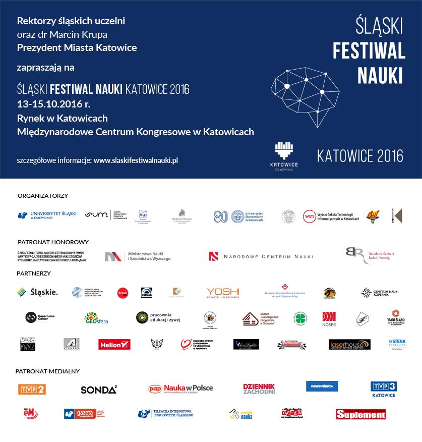 Grafika Śląskiego Festiwalu Nauki wraz z logotypami partnerów