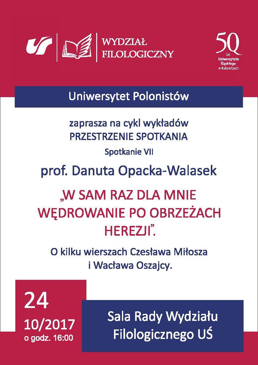 palat promujący wykład prof. Danuty Opackiej-Walasek w ramach Uniwersytetu Polonistów, zawierający logo Wydziału Filologicznego i UŚ, tytuł wykładu nazwisko prelegentki oraz datę i miejsce.