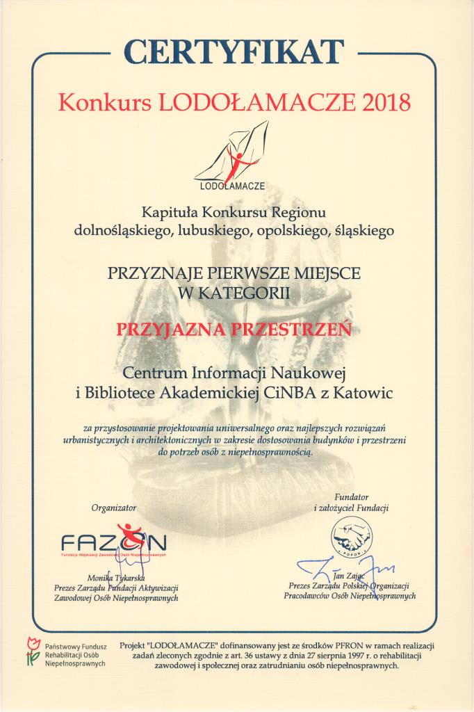 Certyfikat przyznania pierwszej nagrody w konkursie