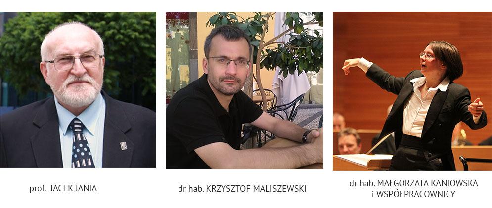 Grafika: portrety – (od lewej: prof. Jacek Jania, dr hab. Krzysztof Maliszewski, dr hab. Małgorzata Kaniowska)