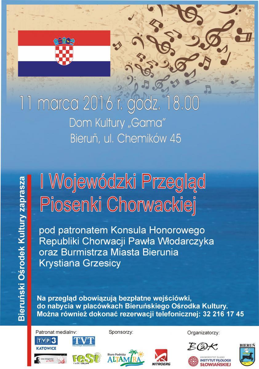 plakat promujący I przegląd piosenki chorwackiej w Bieruniu